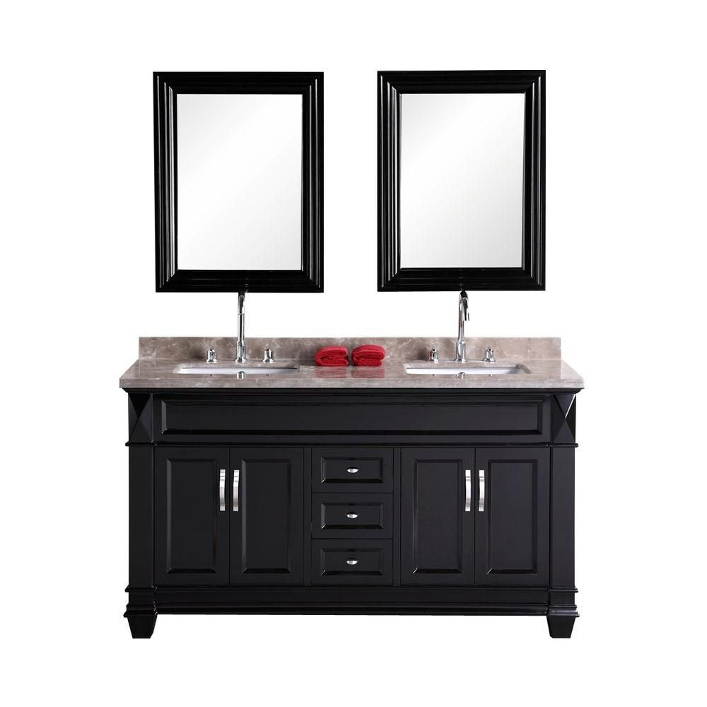 Hudson-San Marino 60-inch W Vanity in Espresso with Marble Top in Badel Grey and Mirror