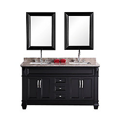 Design Element Hudson-San Marino 61-inch W x 22-inch D Vanity in Espresso with Marble Top and Mirror in Badel Grey