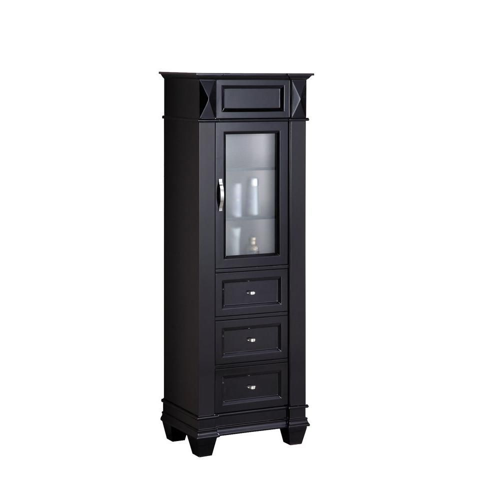 22 Inches W x 14.5 Inches D x 64.5 Inches H Linen Cabinet in Espresso (Faucet not included)