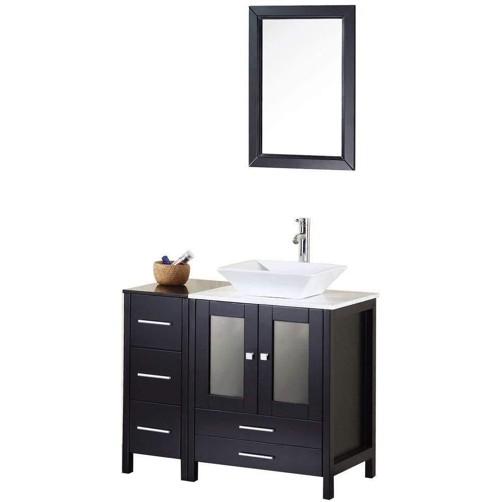Arlington 36-inch W Vanity in Espresso with Marble Top in Carrara White and Mirror