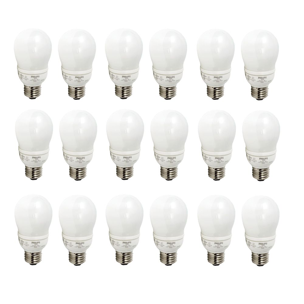 CFL 9W = 40W A-Line (A19)  Household Soft White (2700K)  - Case of 18 Bulbs