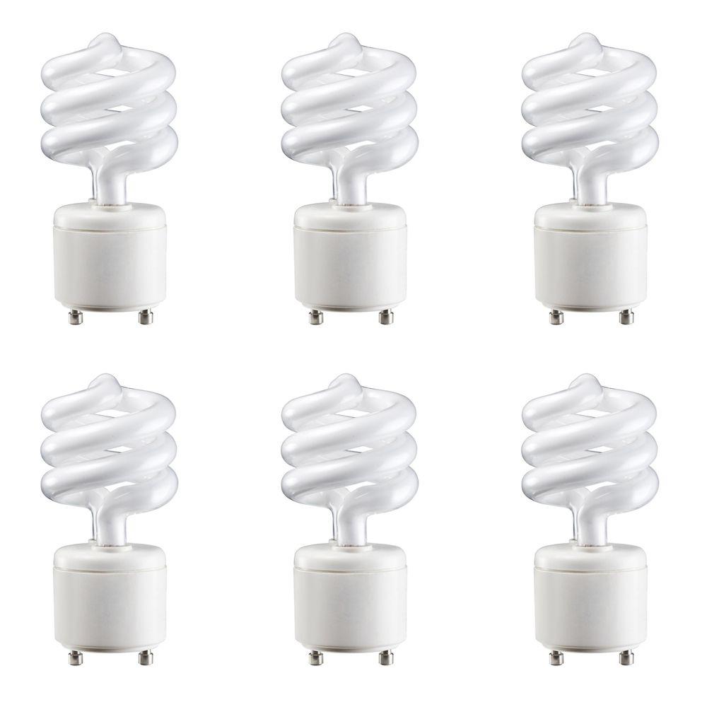 GU 24 Mini Twister 13W = 60W blanc doux (2700K) - Cas de 6 Ampoules