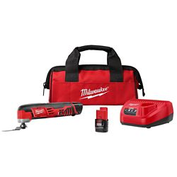 Milwaukee Tool M12 12V Lithium-Ion Cordless Oscillating Multi-Tool Kit W/(2) 1.5Ah Batteries, Accessories, Charger and Tool Bag
