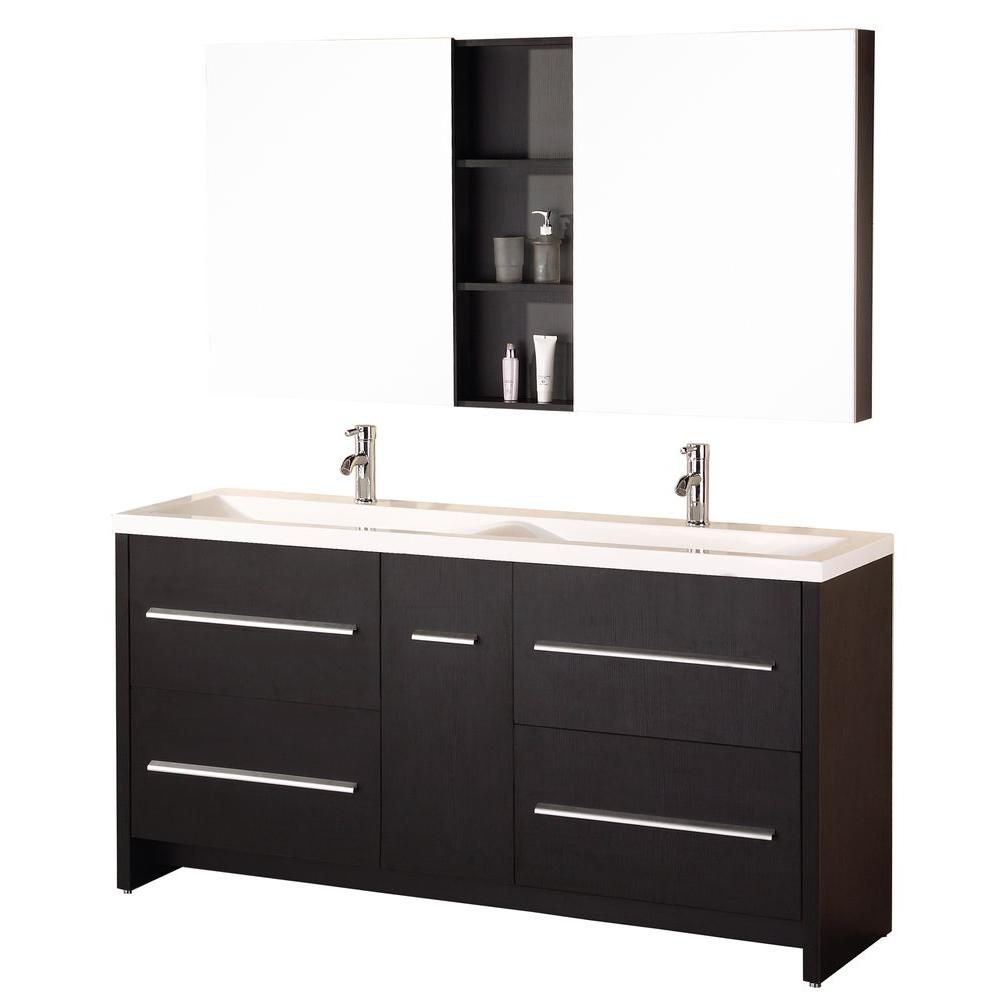 Design Element Perfecta 63-inch W x 20-inch D Vanity in Espresso with Acrylic Vanity Top and Mirror in White