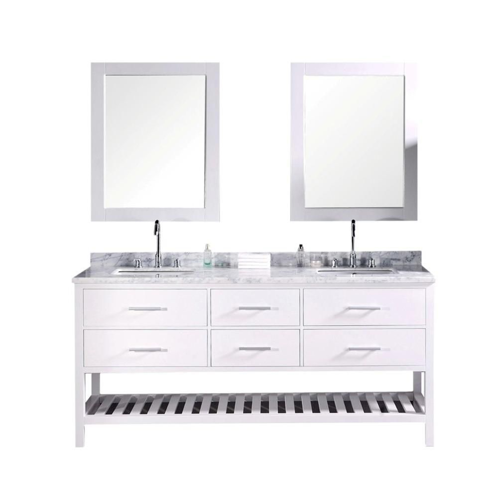 London 72-inch W Vanity in Pearl White with Marble Top in Carrara White and Mirror