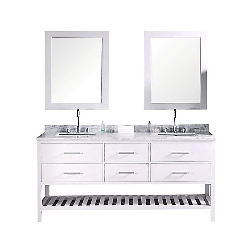 London 72 in W x 22 in D Vanity in Pearl White with Marble Vanity Top and Mirror in Carrara White