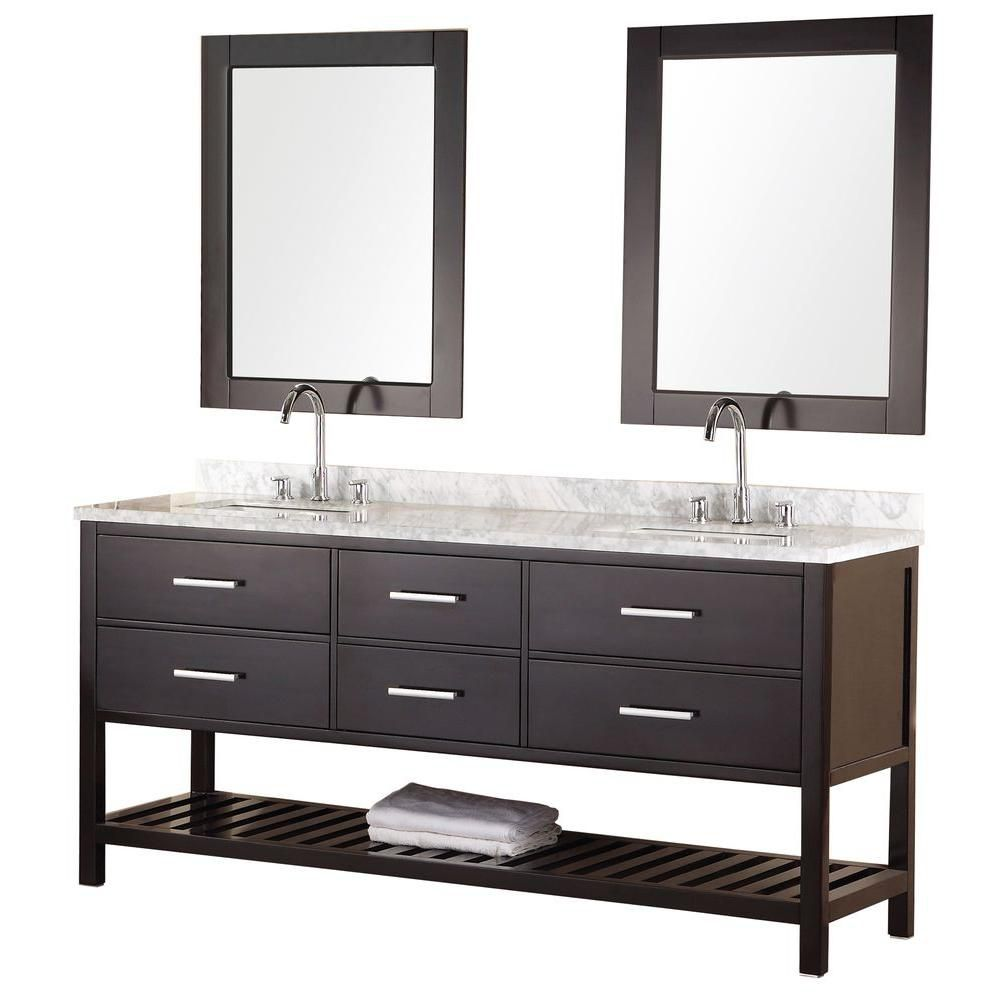 Mission 72-inch W Vanity in Espresso with Marble Top in Carrara White and Mirror