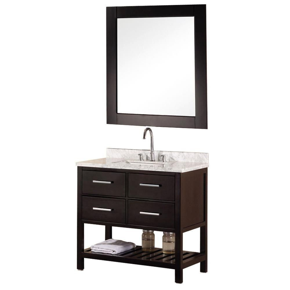 Mission 36-inch W Vanity in Espresso with Marble Top in Carrara White and Mirror