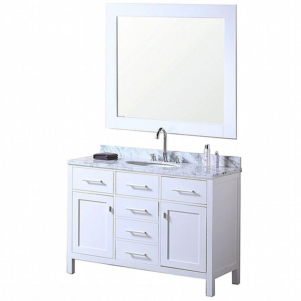 London 48-inch W Vanity in Pearl White with Marble Top in Carrara White and Mirror