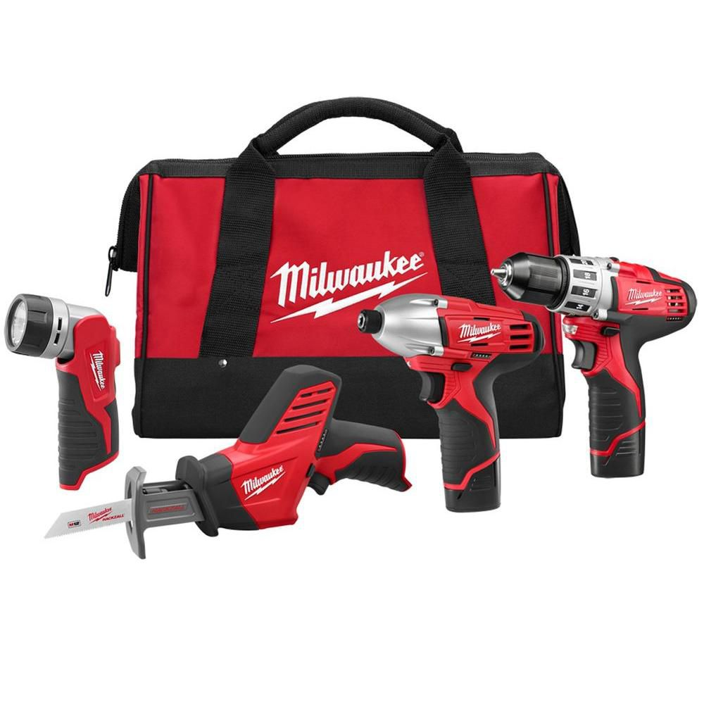 Milwaukee Tool M12 12V Li-Ion Cordless Drill/Impact/Hackzall/Light Combo Kit (4-Tool) with Batteries Charger & Bag