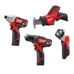 Milwaukee Tool M12 12V Li-Ion Cordless Drill/Impact/Hackzall/Light Combo Kit (4-Tool) with Batteries Charger & Bag