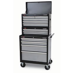 HUSKY 27-inch 11-Drawer Mobile Tool Storage Chest & Cabinet Combo in Black and Silver