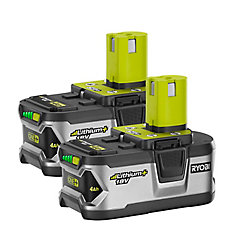 RYOBI 18V ONE+ High Capacity 4.0 Ah Battery (2-Pack)