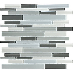 Sassi Linear Blend Glass Tile in Arctic Grey