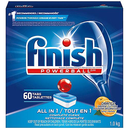 Détergent pour lave-vaisselle, Powerball All in 1, Orange, 60tablettes, pouvoir nettoyant à action rapide