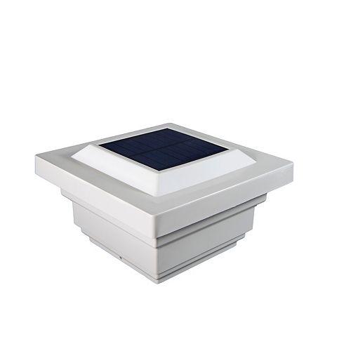 Classy Caps Regal 4 inch x 4 inch Outdoor White Vinyl LED Solar Post Cap