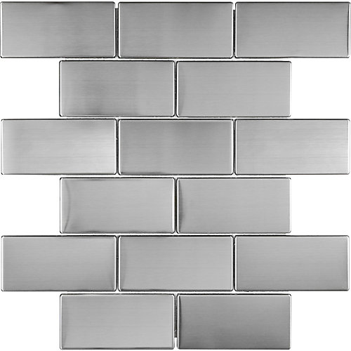 2-inch x 4-inch Stainless Steel Mosaic Tile