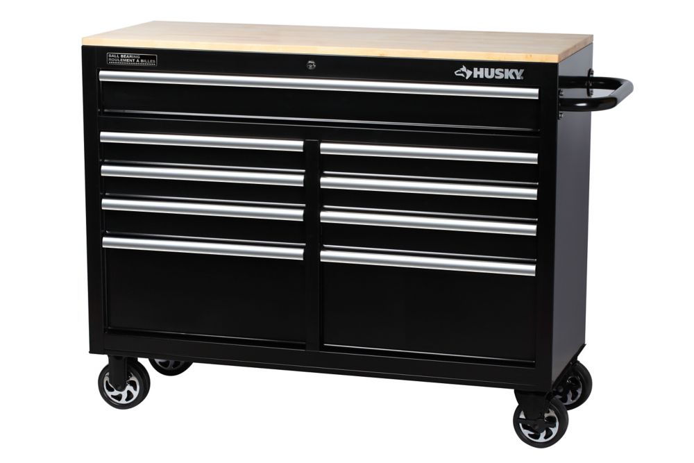 HUSKY 46-inch 9-Drawer Mobile Workbench with Solid Wood Top