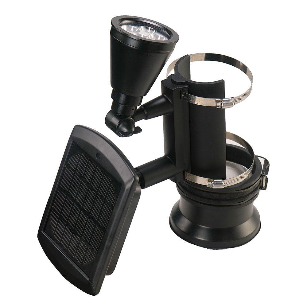 Lampe solaire pour poteaux d'extérieur (couleur noir) à 4 DEL