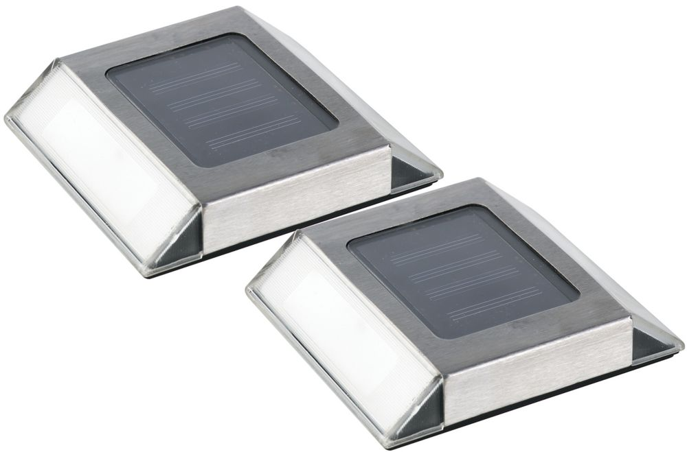 Solar Powered Stainless Steel Pathway Lights (2 pack)