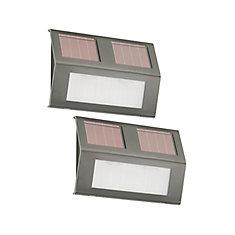 Unités d'éclairage de marches extérieures de couleur bronze en acier inoxydable de 6 pouces - Alimentation solaire - (Paquet de 2)