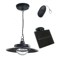 Nature Power 4-Light Black Indoor/Outdoor Solar-Powered LED Hanging Shed Light with Remote Control