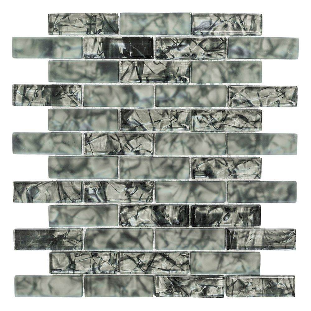 Jeffrey Court Black Magic 12-inch x 12-inch Glass Brick Mosaic Tile