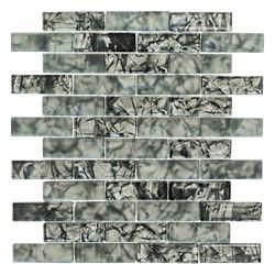 Jeffrey Court Black Magic 12-inch x 12-inch Glass Brick Mosaic Tile