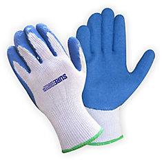Gant Bulk en polyester avec paume de caoutchouc bleu   (28 unités)