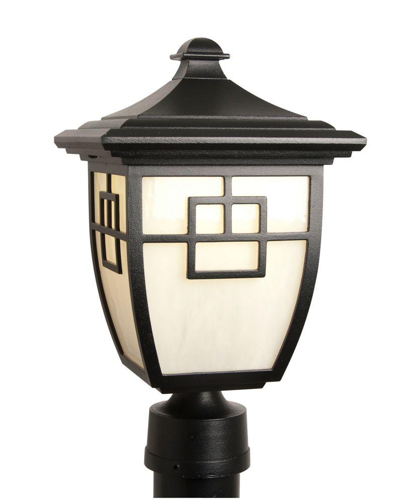 Nuance, luminaire sur poteau au DEL 7 watts, verre marbré bullé blanc, noir  (poteau non-inclus)