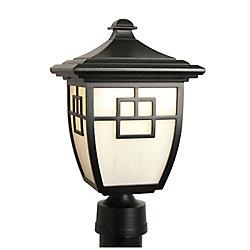Snoc Nuance, luminaire sur poteau au DEL 7 watts, verre marbré bullé blanc, noir  (poteau non-inclus)