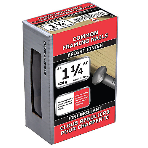 1 1/4-inch (3d) Common Framing Nail-Bright Plated-420g (approx. 510  pieces per package)