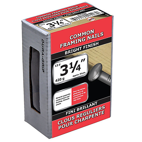 3 1/4-inch (12d) Common Framing Nail-Bright Plated-420g (approx. 50  pieces per package)