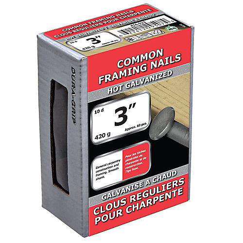 3-inch (10d) Common Framing Nail-Hot Galvanized-420g (approx. 60  pieces per package)