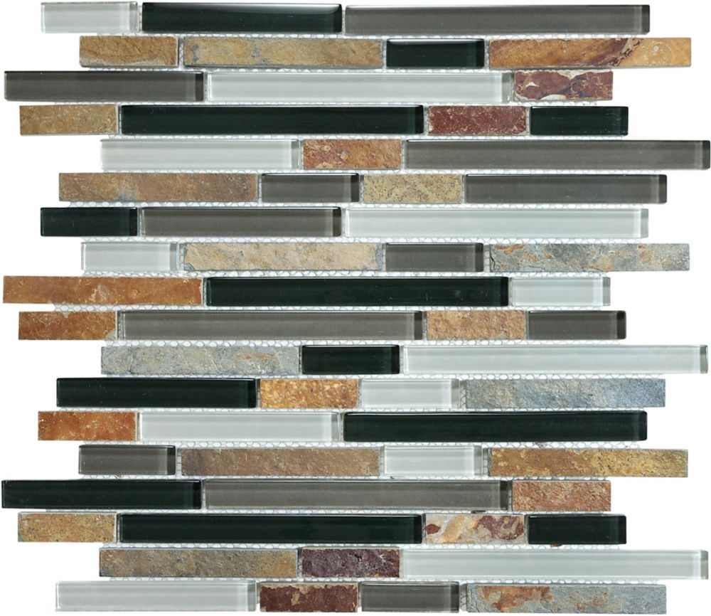 Cool Earth Linear Slate Glass Tile