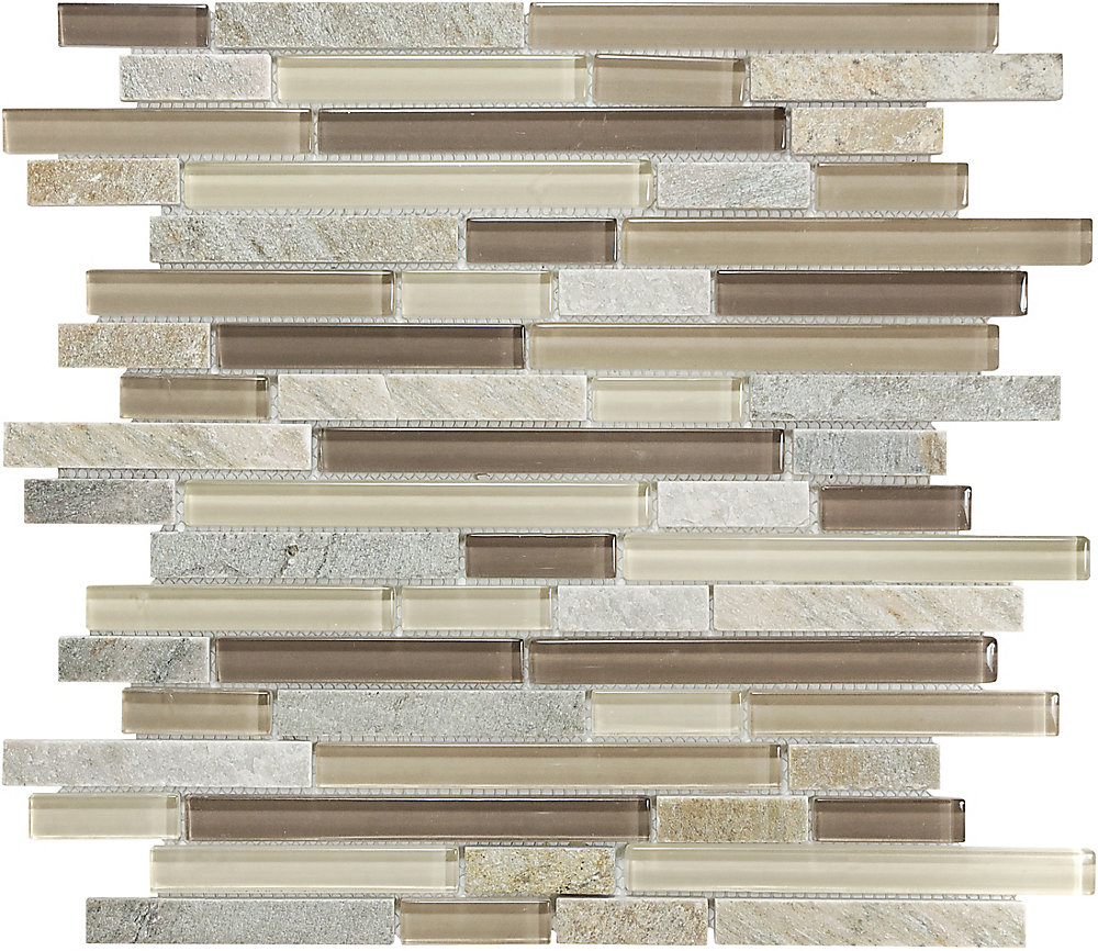 Glass Linear Quartz Mosaic Tile in Aspen