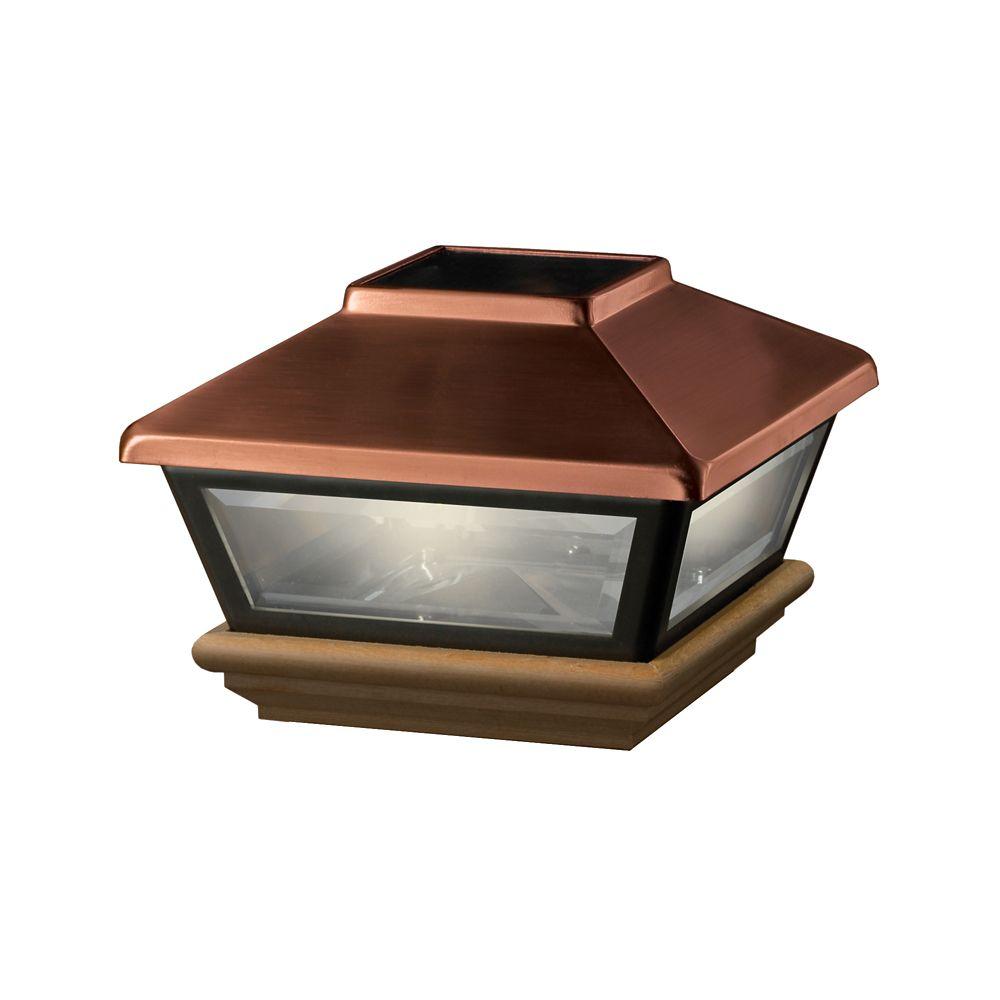 Veranda 4x4 Post Cap Copper Solar Light Cedar Base