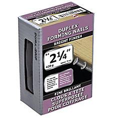 2 1/4 po (8d) Duplex double vernis à clous - 420 g (environ 70 pièces par paquet)