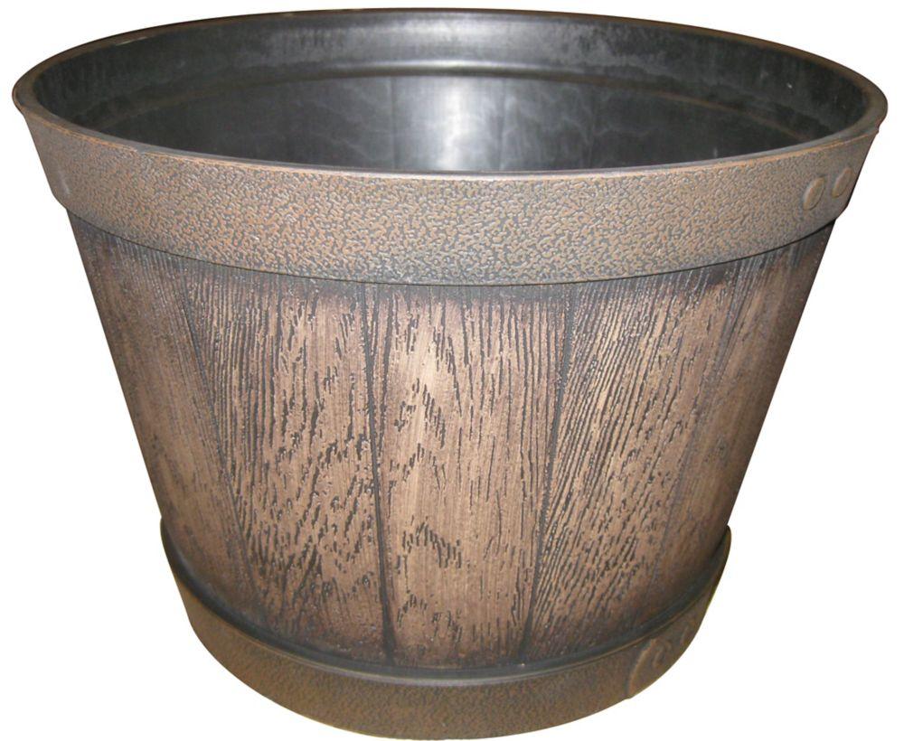 Resin Whiskey Barrel Planter,KY Walnut Colour, 15.5 Inch