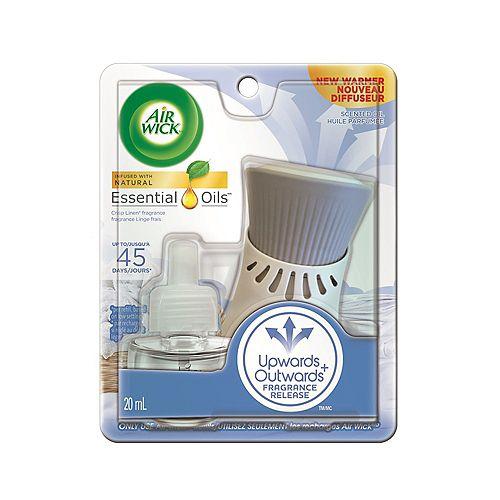 Airwick Plug-in Air Freshener, Scented Oil Kit, Crisp Linen Kit, 1 Plug-in + 1 Refill