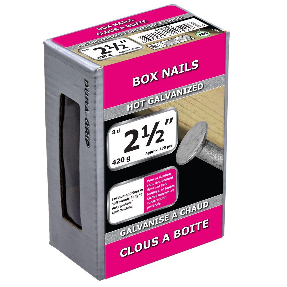 """2 1/2"""" Box Nail Hot Galv 420g"""