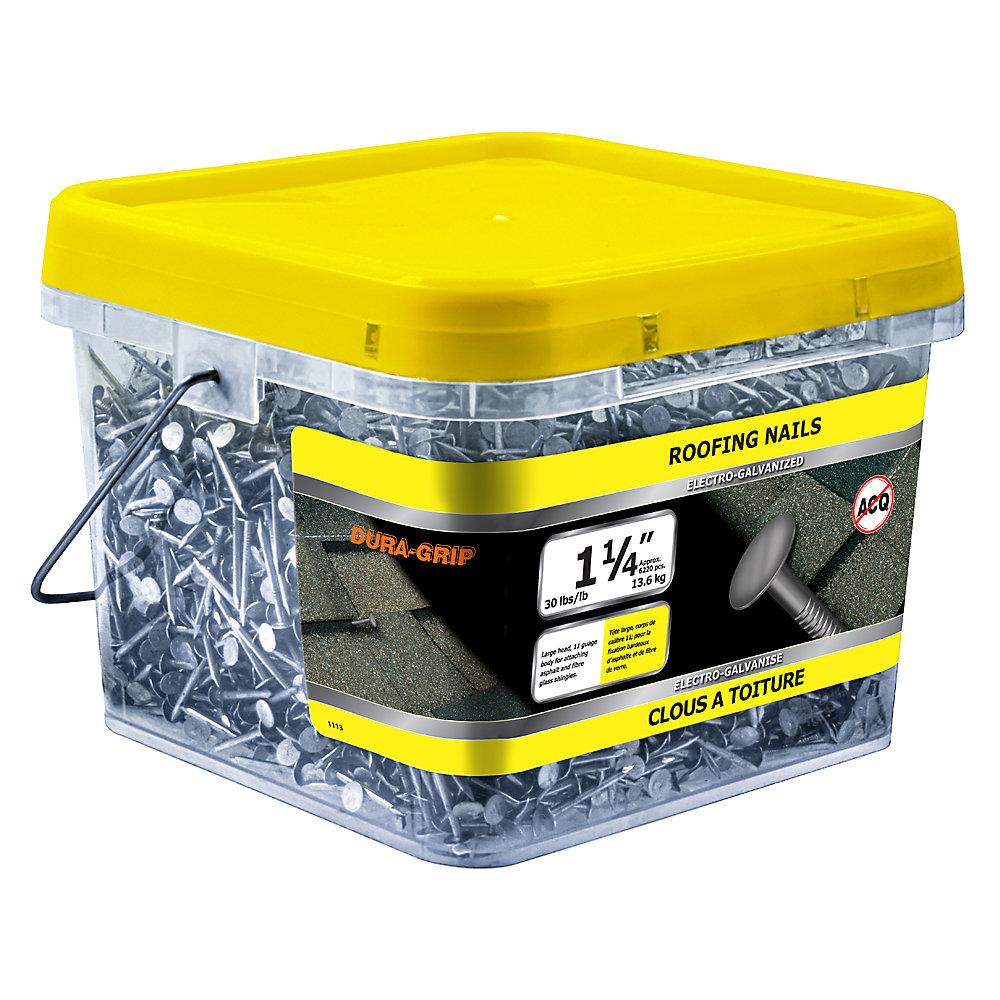 1 clou pour toiture de 1/4 po galvanisé à l'électrolyte - 30 lb (environ 6220 pièces par paquet)