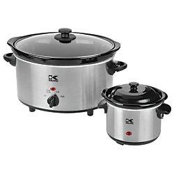 Kalorik 4.75QT Stainless Steel Slow Cooker + 0.75QT Dipper