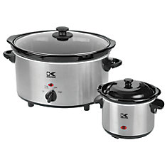 4.75QT Stainless Steel Slow Cooker + 0.75QT Dipper