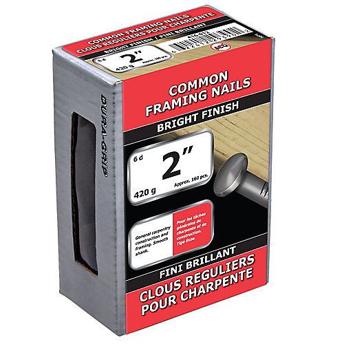 2-inch (6d) Common Framing Nail-Bright Plated-420g (approx. 160  pieces per package)