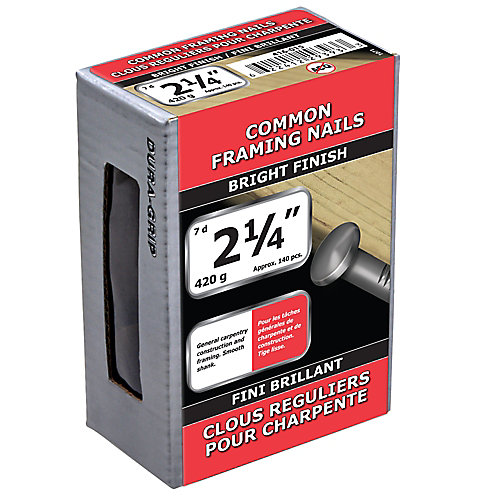 2 1/4-inch (7d) Common Framing Nail-Bright Plated-420g (approx. 140  pieces per package)