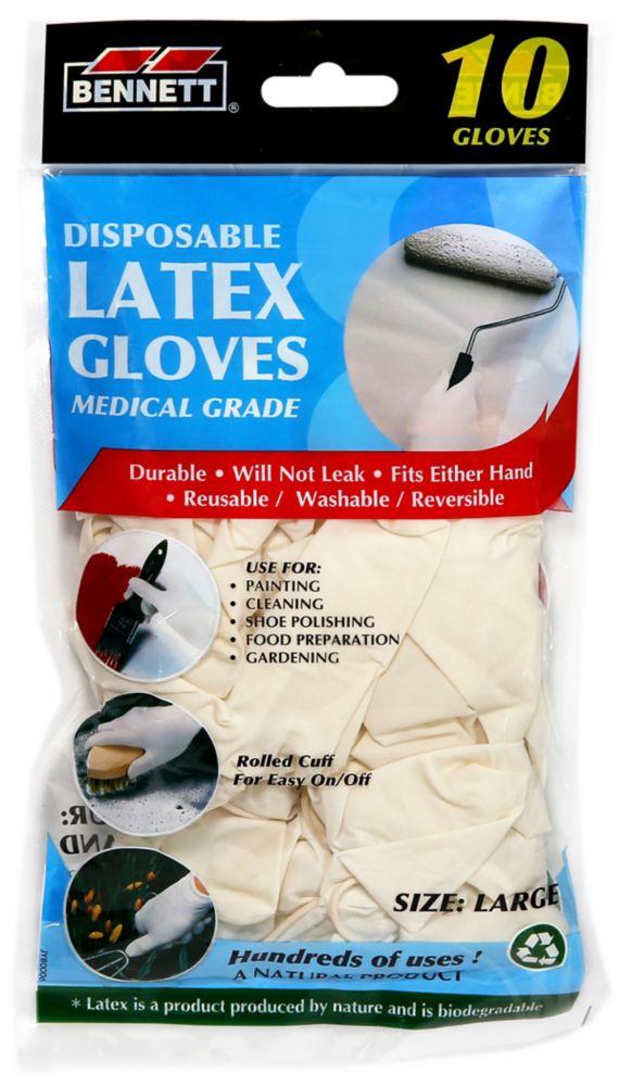 10PQ.  gants en latex. Jetable