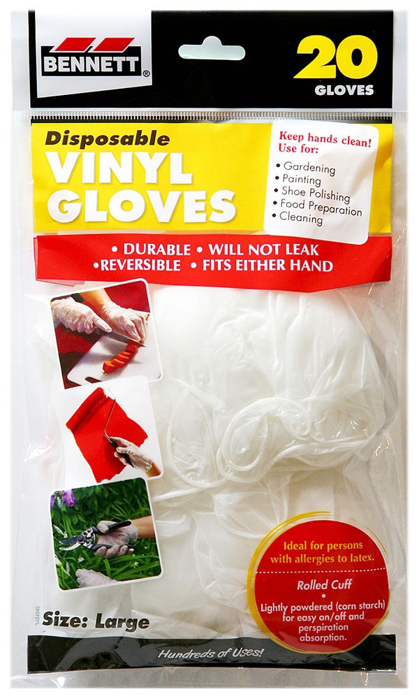 20 grand gants vinyle, jetables