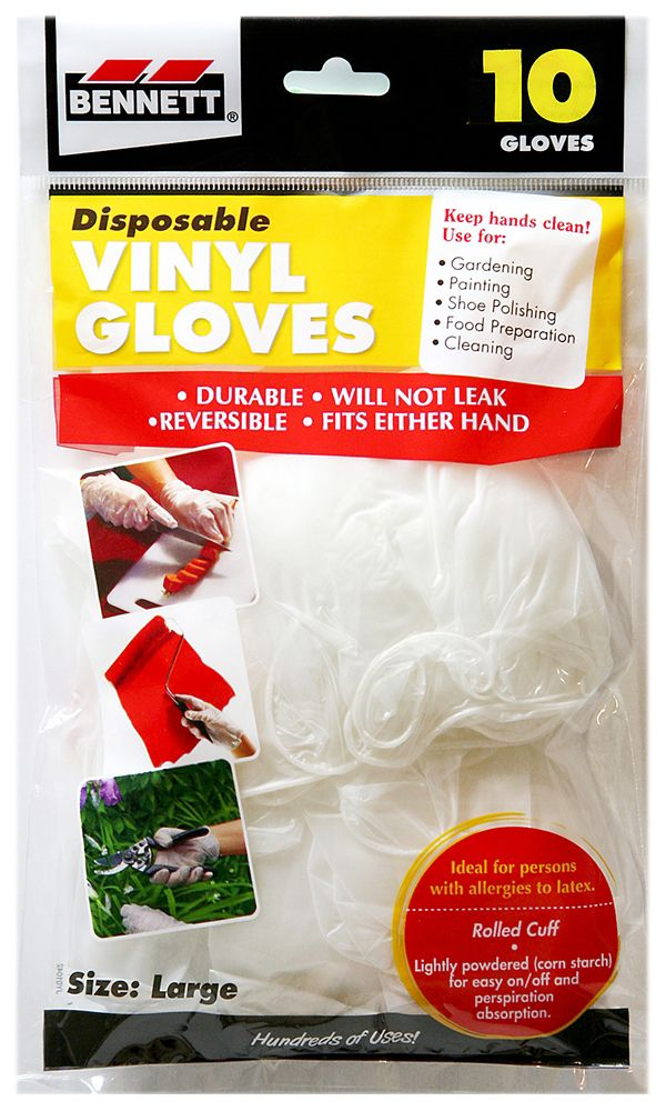 10 Disposable Vinyl Gloves