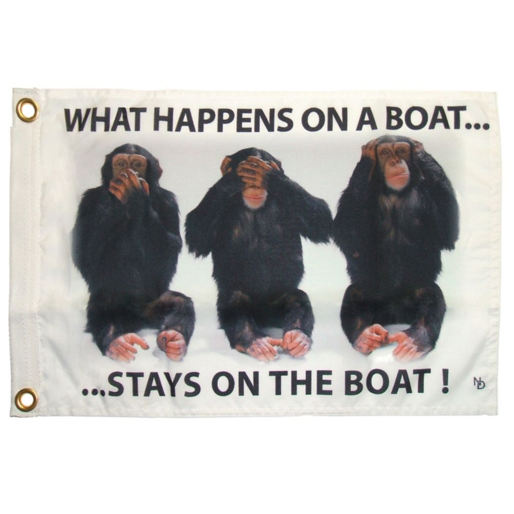 """NAUTI """"Stays on Boat"""" Funny Flag 35703 Canada Discount"""